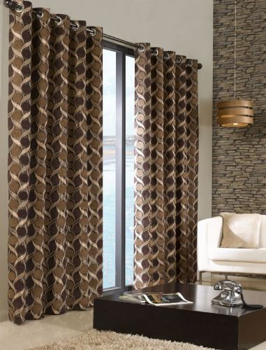 STYLISH TRENDY RINGTOP EYELET LINED CIRCLE PATTERN CURTAINS BEIGE & BROWN COLOUR